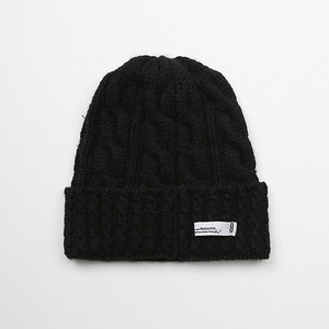 WOOL KNIT BEENIE - BLACK