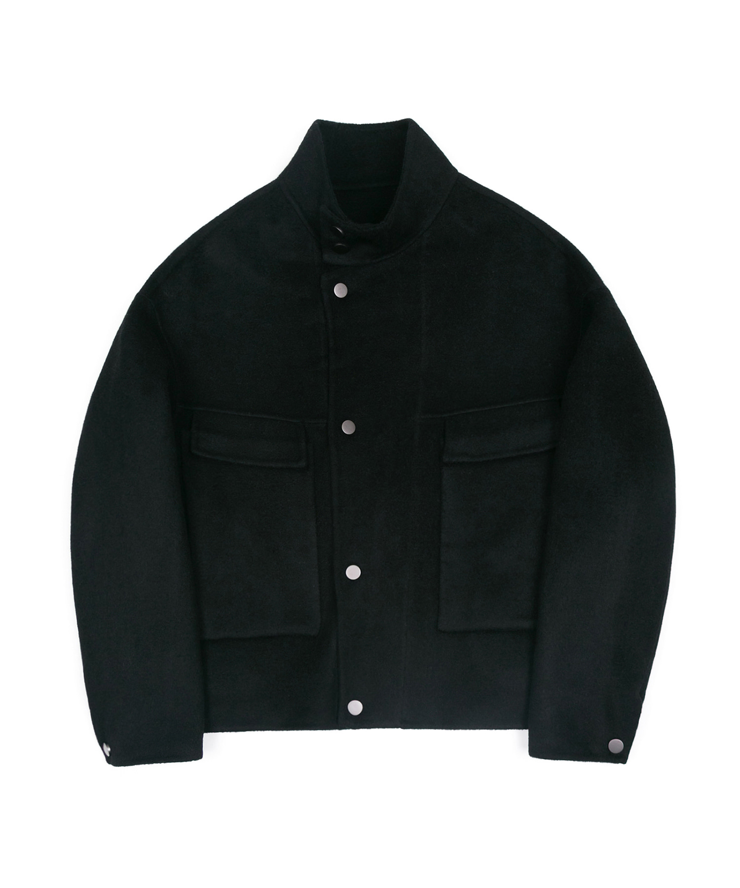 HANDMADE WOOL BREND SHORT RIDER COAT - BLACK