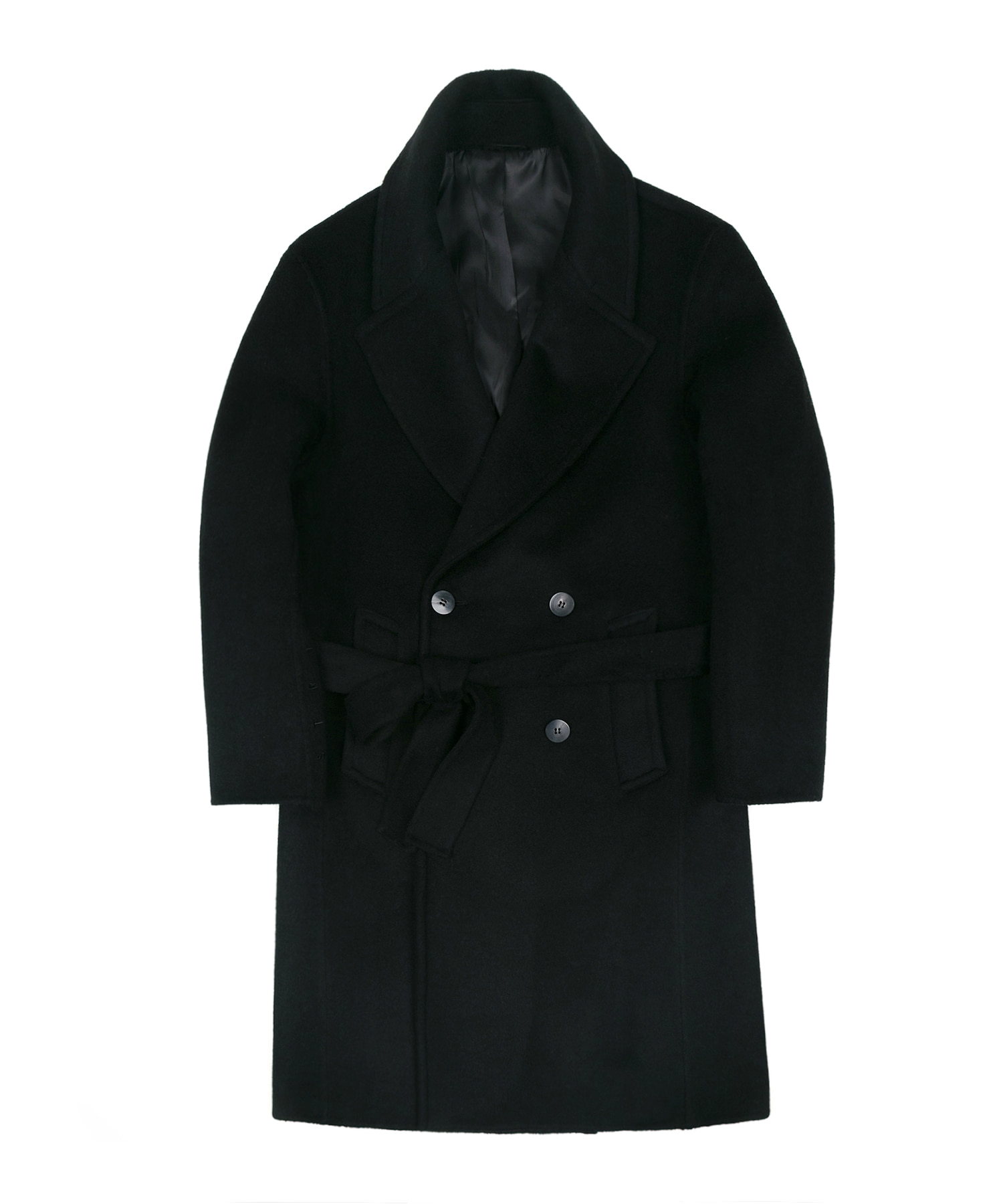 HANDMADE WOOL BREND BELTED DOUBLE COAT - BLACK