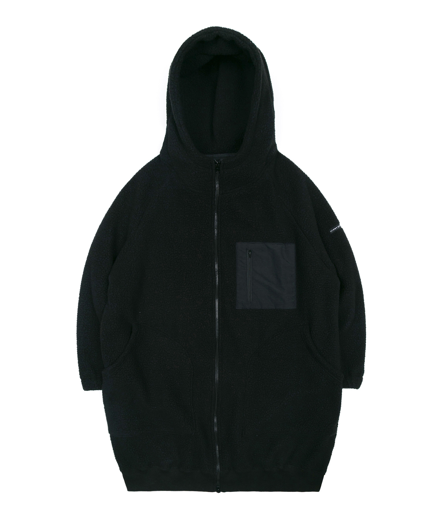 BOA FLEECE LONG HOODIE JACKET - BLACK
