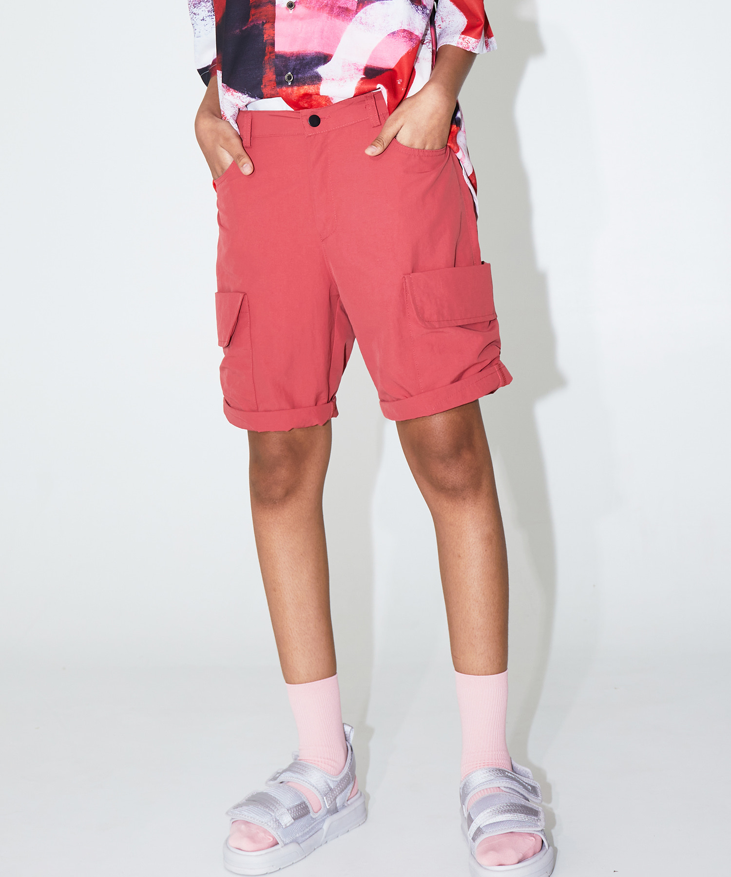 BIG POCKET HALF PANTS - RED
