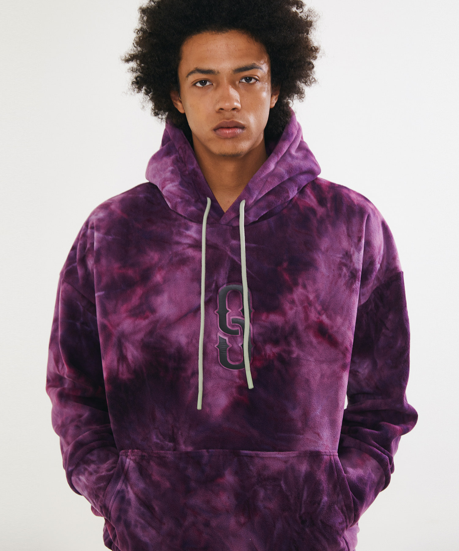 WATER PRINT FLEECE LONG HOOD - PURPLE