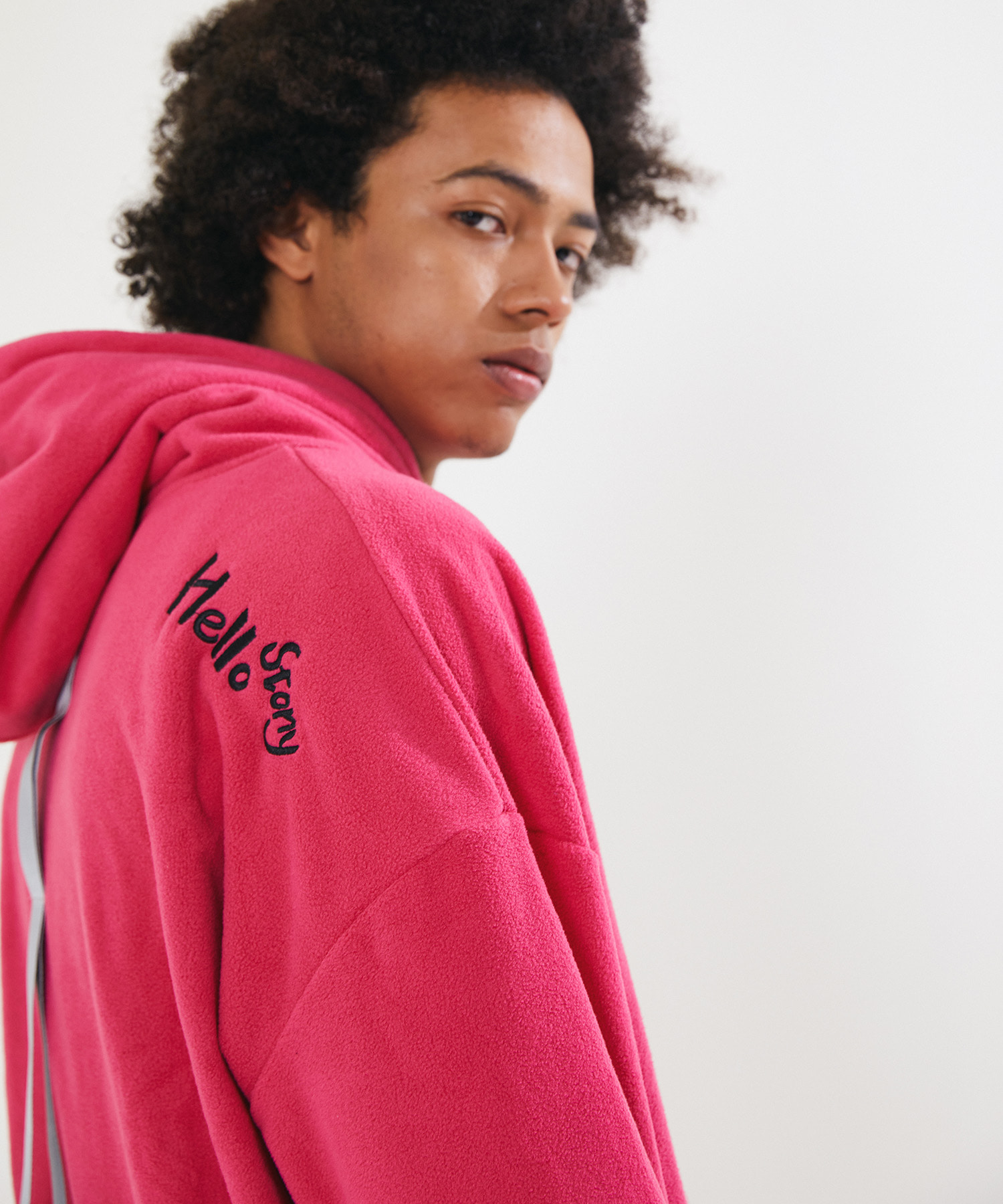 FLEECE SIGNATURE LONG HOOD VER.2 – PINK