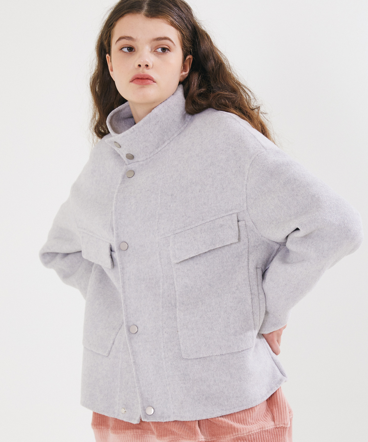 HANDMADE WOOL BREND SHORT RIDER COAT – GREY